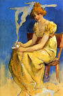 WOMAN DRINKING HOT COFFEE CHOCOLATE SMOKE BY MUCHA VINTAGE POSTER REPRO