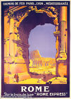 ROMAN ARCHES COLOSSEUM ITALY ROME EXPRESS TRAIN TRAVEL VINTAGE POSTER REPRO