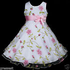 p006 a3 UkG X'mas Party Costume Pink Summer Holiday Flower Girls Dress 2,3,4-12y