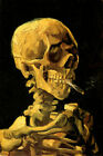 SKULL WITH CIGARETTE SMOKING VAN GOGH REPR CANVAS PAPER