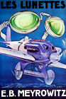 LES LUNETTES E B MEYROWITZ AVIATOR GOGGLES GLASSES AIRPLANE VINTAGE POSTER REPRO