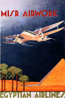 EGYPT EGYPTIAN AIRLINE MISR AIRWORK AIRPLANE PYRAMID TRAVEL VINTAGE POSTER REPRO