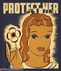 PROTECT HER WOMAN FLOWER USA VINTAGE POSTER REPRO
