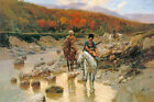 RUSSIAN COSSACKS AT A MOUNTAIN STREAM HORSE PAINTING BY FRANZ ROUBAUD REPRO