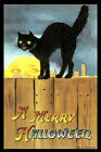 A MERRY HALLOWEEN NIGHT MOON SCARRY BLACK CAT ON FENCE USA VINTAGE POSTER REPRO