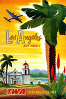 LOS ANGELES CALIFORNIA FLY TWA AIRLINES TRAVEL VINTAGE POSTER REPRO