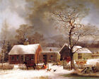 WINTER SCENE IN NEW HAVEN CONNECTICUT AMERICAN PAINTING BY GEORGE DURRIE REPRO