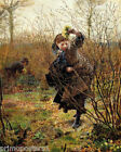 SPRING GIRL PICKING WILD FLOWERS PAINTING BY FREDERICK WALKER REPRO