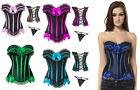 new!! sexy lace up corset bustier with thong, zipper