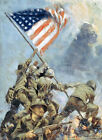 "Flag Raising on Mt Suribachi, Iwo Jima - 20""x32"" Art on Canvas"