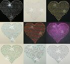 4INCH HEART IRON-ON HOTFIX RHINESTONE CRYSTAL BEAD STONE T-SHIRT TRANSFER PATCH