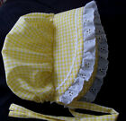 Baby Toddler Sunhat Bonnet YELLOW GINGHAM  hat sz nb,3,6,9,12,18 mo