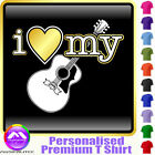 Acoustic Guitar I Love My - Personalised Music T Shirt 5yrs - 6XL by MusicaliTee