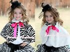 Hot Pink Bow Baby Girl Fluff Reversible Zebra Print Petti Shawl Coat Scarf 6m-6Y