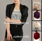 New Women's Ladies 100% Silk Charmeuse Bolero Cropped Shrug Jacket Blazers Top