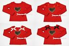 Valentine Leopard Heart Print Red Long Sleeve Pettitop Top For Pettiskirt 1-8Y