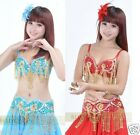 Brand New Sexy Belly Dance 2 Pcs Costume Bra & Belt 2 Colors: Red And Light Blue