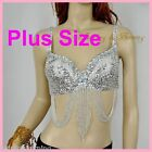 *PLUS SIZE* Belly Dance Bra Sequined Beaded Top Sexy Dancing Costume R3