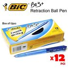 12s BIC BU3+ 0.7mm Ballpen Retractable Ball Pens in Box (Black / Blue / Red)