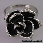White Gold GP Black Flower Inlaid Rhinestone Crystals Cocktail Party Ring IR010A