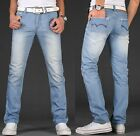 NEW MENS CLASSIC FIT FADED JEANS PANTS LIGHT BLUE SIZE 28-38 039