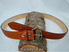 "Barsony Heavy Duty Saddle Tan Leather Basket Weave Belt 1 3/4"" Size 57-58"