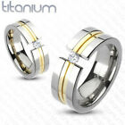 Solid Titanium Gold IP Center Gem Wedding Band Size 5,6,7,8,9,10,11,12,13 (f188)