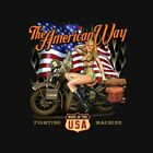 THE AMERICAN WAY MILITARY VINTAGE MOTORCYCLE BIKER T SHIRT M TO 6XL BLACK GRAY