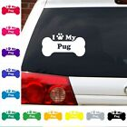I Heart Love My Pug decal sticker