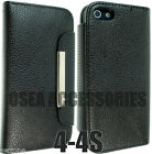 For Apple iPhone 4 4S Leather Case Book Pouch Flip Wallet Cover Phone Back Cases
