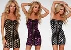 Cute Black Sequin Zipper Cami Mini Party Club Dress in Gold, Silver &  Purple