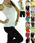 Pick A High Quality 100% Cotton Women's Ribbed Tank Top A-Shirts Exercise Yoga