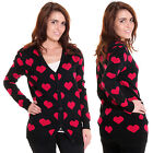 NEW IRON FIST WOMEN'S HEART ON CARDIGAN IN BLACK/RED RRP £64.99
