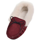 Soft Ladies Sheepskin Suede Pink Beige Moccasin Slipper UK3 UK4 UK5 UK6 UK7 UK8