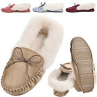 Ladies Sheepskin Moccasin with Ankle Cuff and Soft Sole BRITISH MADE