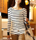 Women's Striped Cotton Long Sleeve T shirts Crew neck Casual T Shirt  Top