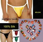 6 PCS MENS 100% SILK G-STRINGS BRIEFS BIKINIS SEXY UNDERWEAR SIZE S - XXXL