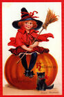 BEAUTY GIRL SEATED ON A PUMPKIN BLACK CAT BROOM HALLOWEEN VINTAGE POSTER REPRO