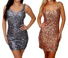 USA SEXY CELEBRITY SEQUIN BODYCON GOLD SILVER NAVY BLUE PINK BLACK DRESS S M L