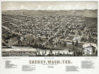 6054.Birds eye view of Cheney,Wash.Ter.1884 POSTER.House Wall Art Decorative