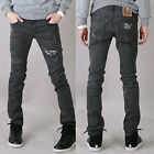 jsn0329 Paisley patch ripped blach wash skinny spandex jeans