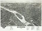Decor Poster.Fine Graphic Home Art Design. Aurora Illinois 1882 Birds eye. 2747