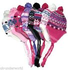 CHILDRENS KIDS GIRLS THERMAL WINTER WARM LINED PERUVIAN PERU INCA STYLE SKI HAT