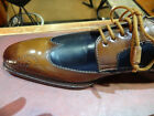 MEZLAN DRESS SHOE COGNAC BROWN NAVY BLUE SPECTATOR WING TIP TIE UP