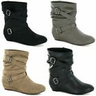 LADIES PULL ON   LOW WEDGE ANKLE  BOOTS (SPOT ON F50068)
