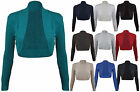 Ladies New Plain Shrug Top Womens Long Sleeve Knitted Cropped Cardigan Size 8-14