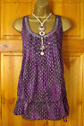 NEW FAB EX DEBENHAMS PURPLE SILVER SEQUIN TUNIC & CAMI PARTY TOP UK SIZE 8 TO 18