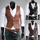 NEW Mens Slim fit V-neck stylish PU leather vest 3 color & Size Waistcoat 5891