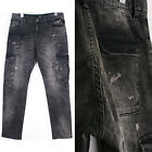 jcat01 good quality wash painted black denim cargo jeans