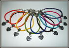 Leather Braided Charm Bracelet & Silver Love Heart Xmas Stocking Filler Gift